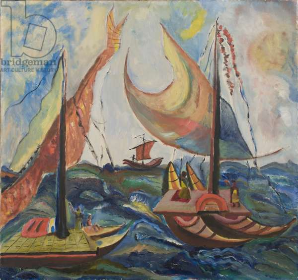 Fishing Boats in an Eastern Sea by Josef Bard, 1958 (oil on canvas)