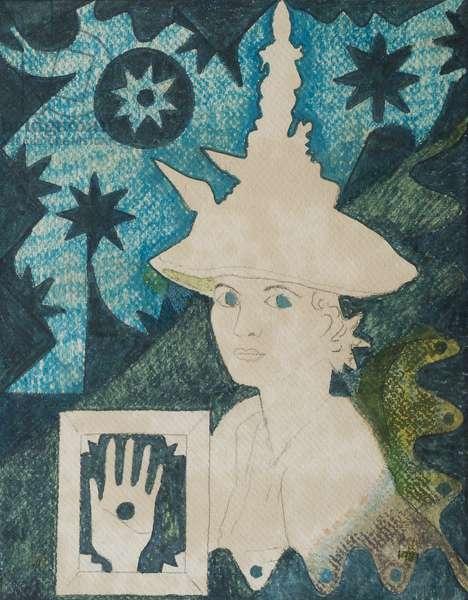 Self portrait with hat for Eating Bouillabaisse, (pencil, felt tip pen on paper)