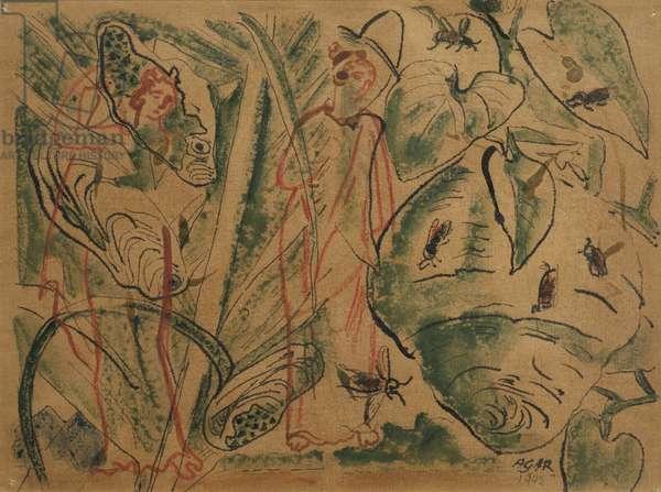 Figures in a Landscape, 1942 (pen & ink on paper)