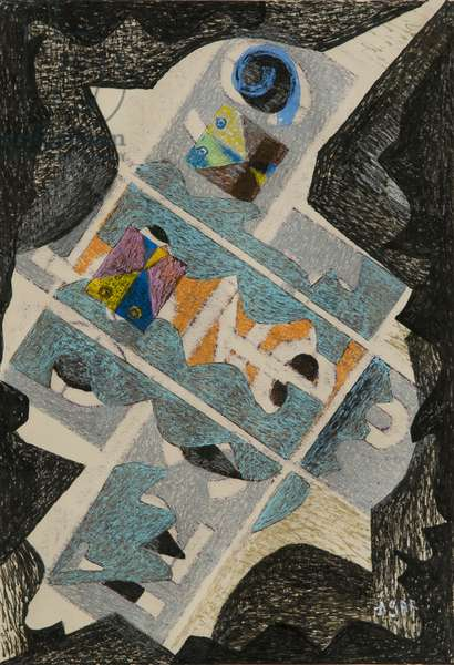 Silver Bird, 1968 (w/c, acrylic paint & wax crayon)