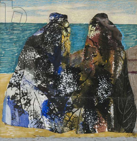Two Old Men in the Sea, (mixed media collage on paper)