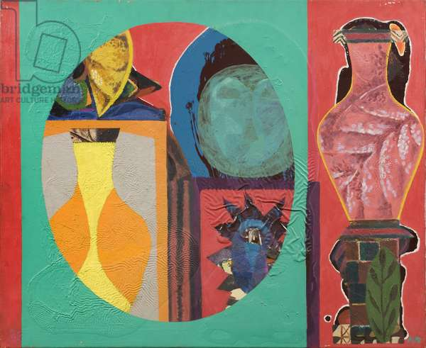 Still Life (Leaf Vases in Circles), 1964 (acrylic on canvas)