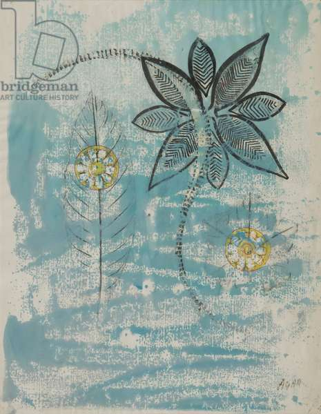 Flower and the Sun, 1976 (frottage on paper)
