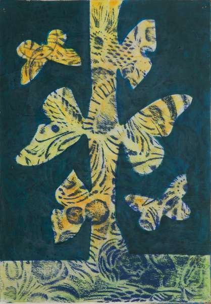Butterfly Bush, 1971 (pastel & acrylic on cardboard)