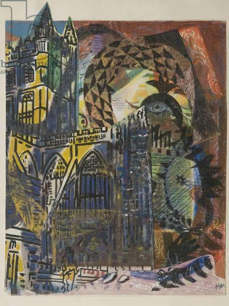 Cathedral, 1940 (mixed media collage)