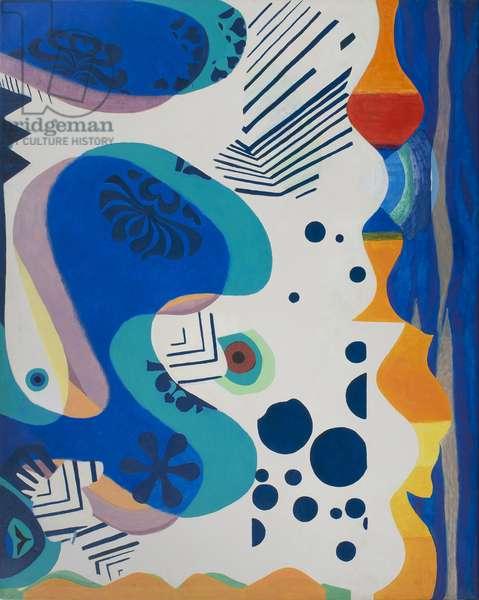Split Scene (Two Panels), 1970 (acrylic on canvas)