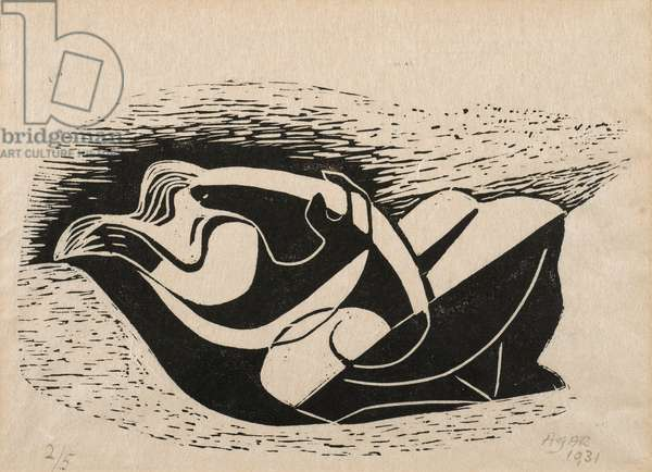 The bird - Two Lovers,  woodcut from The Island, 1931 (woodcut on paper)