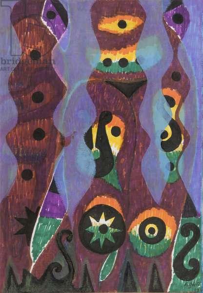 Three Strangers, 1984 (acrylic on canvas)