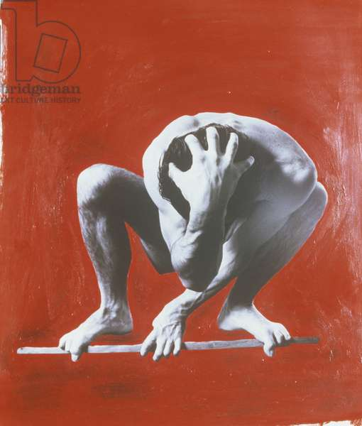 Naked man crouching in mid-air, collage