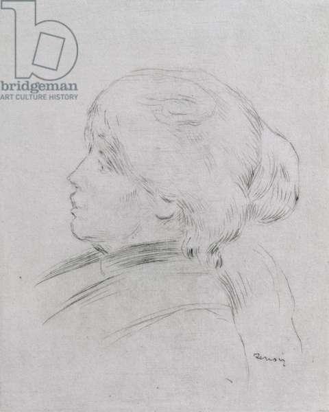 Portrait of Berthe Morisot (1841-95) 1892-3, pub. 1924 (drypoint)