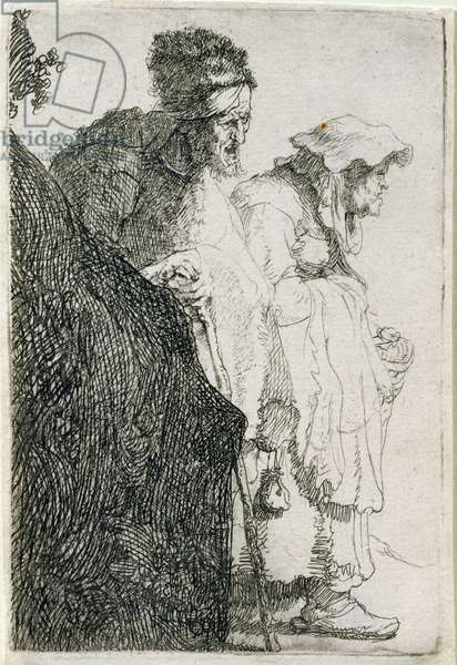 Beggar Man and Woman Behind a Bank, c.1630 (etching)