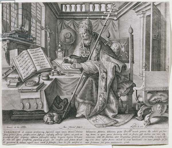 Pope Gregory I, the Great (c.540-604) in his Study, from a series depicting the four 'Fathers of the Church', engraved by Anton Wierix (c.1552-c.1624) pub. by Gerard de Jode, c.1580 (engraving)