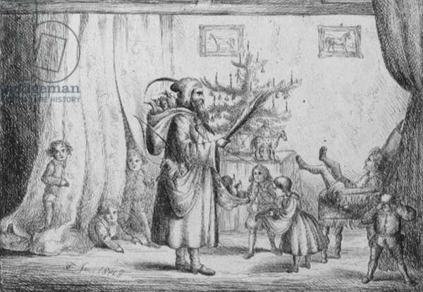 Father Christmas Bringing Presents to the King's Children, 1848 (etching)