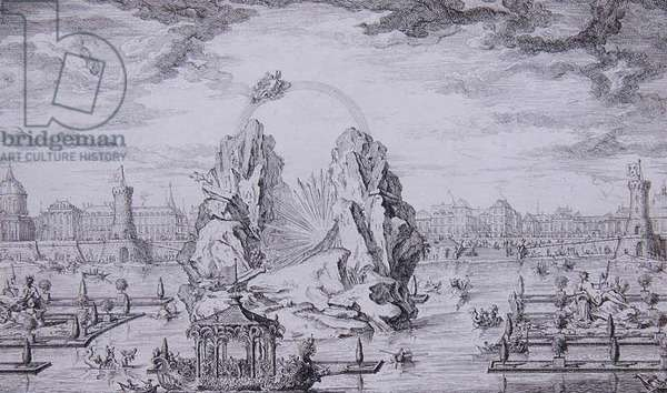 Fireworks to Celebrate the Birth of the Dauphin (son of Louis XV) engraved by Jean Dumont (Le Romain) (1701-81) 1730 (etching)