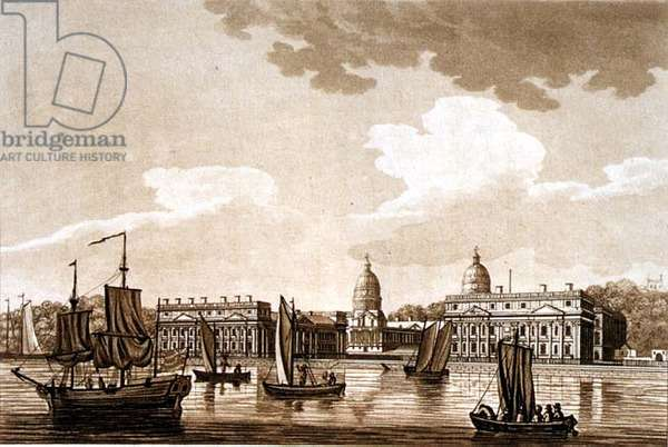 Greenwich Hospital, illustration from 'Picturesque Views of the River Thames', pub. 1799 (etching, aquatint)