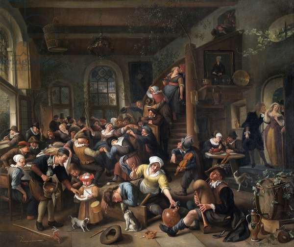 The Egg Dance: Peasants Merrymaking In An Inn, 1670s (oil on canvas)