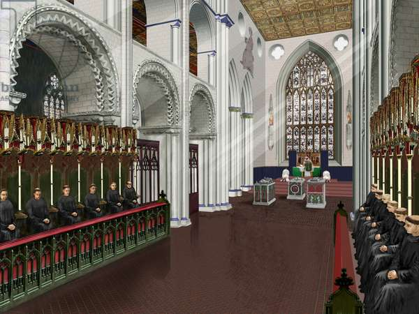 Reconstruction of the interior of the presbytery, Thetford Priory (w/c on paper)