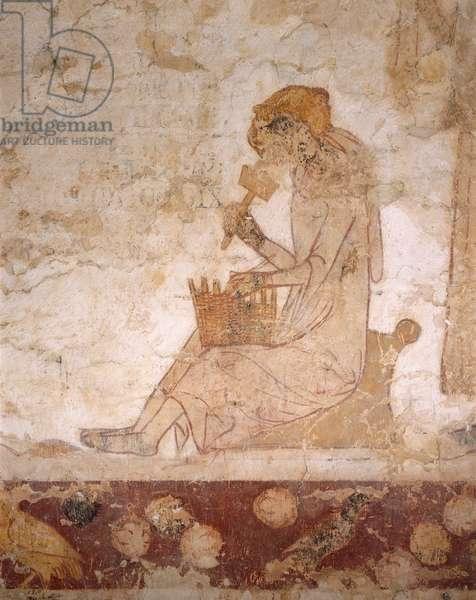 Detail of a figure weaving a basket (fresco)