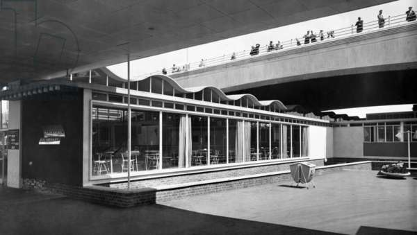 Exterior view of the Thameside Restaurant at the Festival of Britain, Festival of Britain, South Bank, Lambeth, London, UK, 1951 (b/w photo)