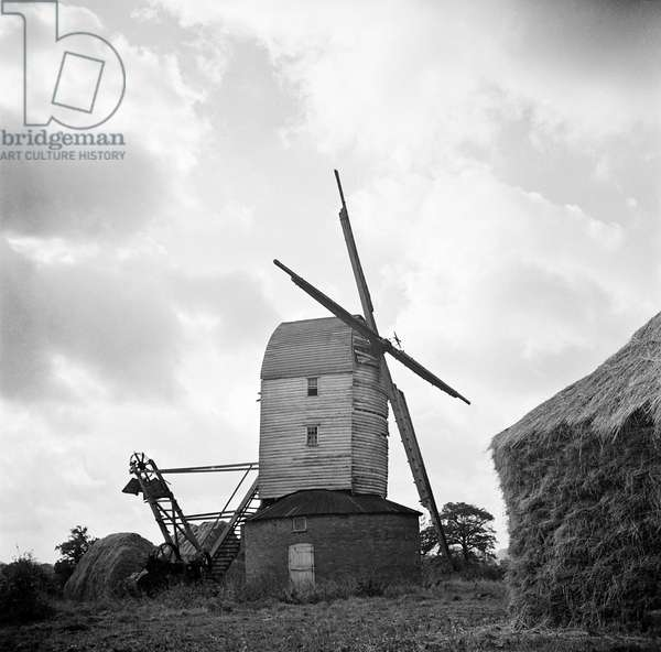 Windmill, Thornham Magna, Suffolk, November 1950 (b/w photo)