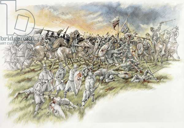 Normans charge through to Harold and his personal troops during the Battle of Hastings (w/c on paper)