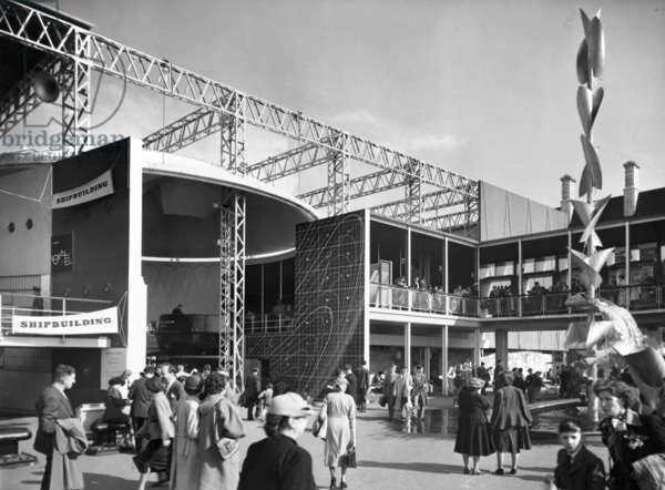 Exterior view of part of the Shipbuilding Display, Festival of Britain, South Bank, Lambeth, London, UK, 1951 (b/w photo)