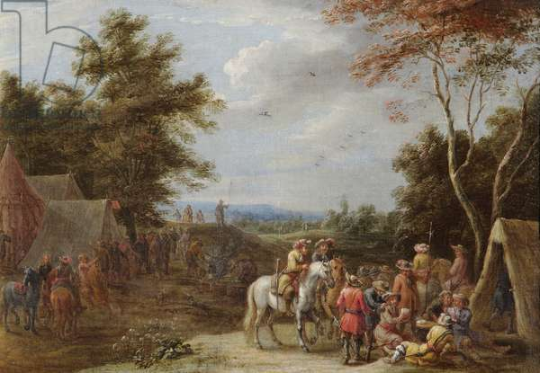 An Encampment with Soldiers Playing Cards, c.1660 (oil on canvas)