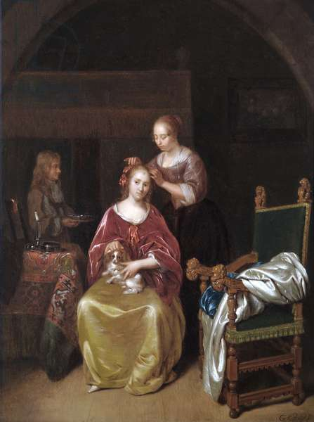 A Lady At Her Toilet, c.1665 (oil on oak panel)