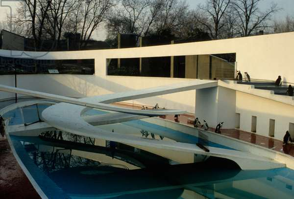 View of the penguin pool, London Zoo, built 1934 (photo)