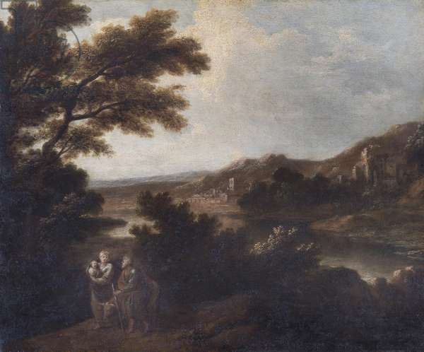 Landscape with the Flight into Egypt (oil on canvas)