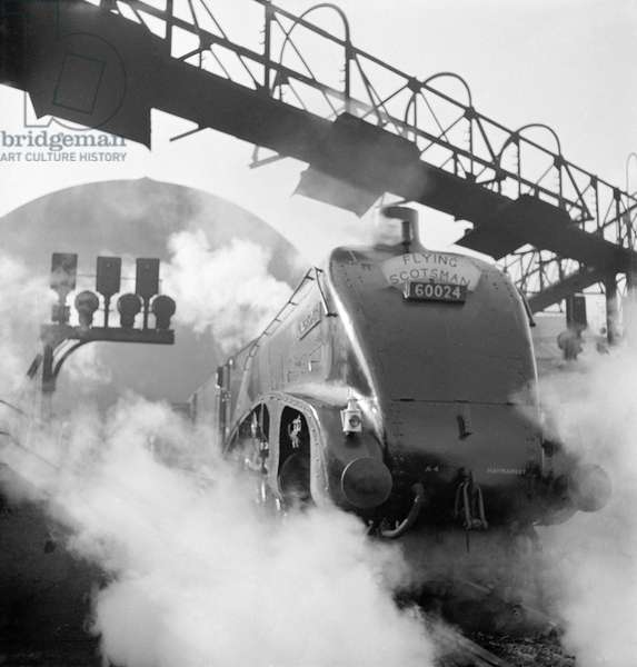 Kingfisher steam train, Flying Scotsman service, 1948 (b/w photo)