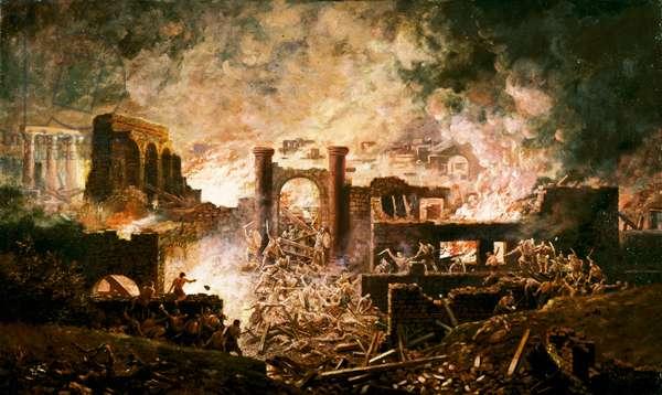 Roman battle scene (oil on canvas)