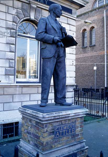 Statue of Clement Atlee outside Limehouse Library, 1988 (bronze)