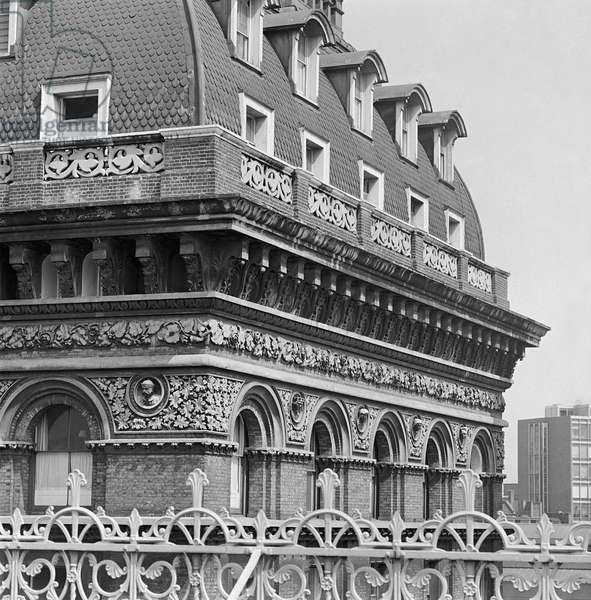 Grosvenor Hotel, Belgravia, Westminster, London: elevated view from the roof of a neighbouring building showing the pavilion roof of the Grosvenor Hotel, 1960-72 (b/w photo)