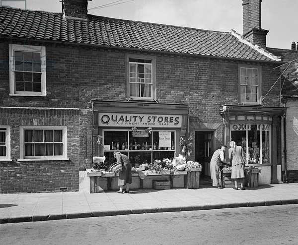 Greengrocer, Southwold, Suffolk, April 1949 (b/w photo)