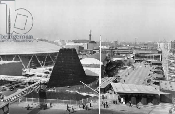 General view of the Festival of Britain South Bank site from County Hall, Festival of Britain, South Bank, Lambeth, London, UK, 1951 (b/w photo)