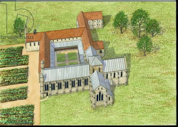Reconstruction of Titchfield Abbey (w/c on paper)