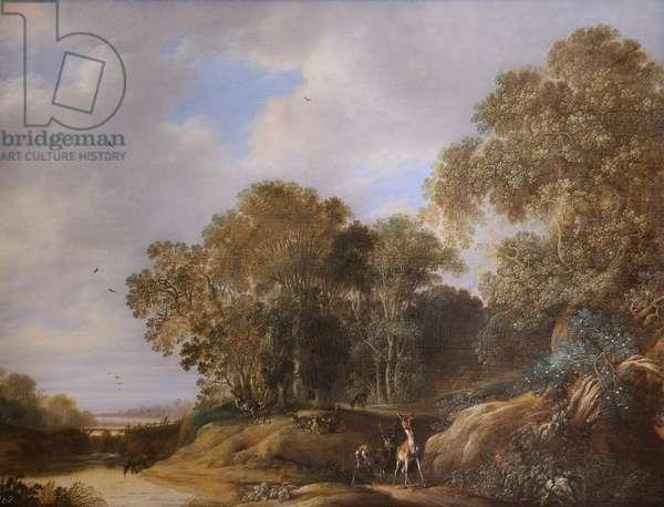 Landscape with Deer (oil on oak panel)