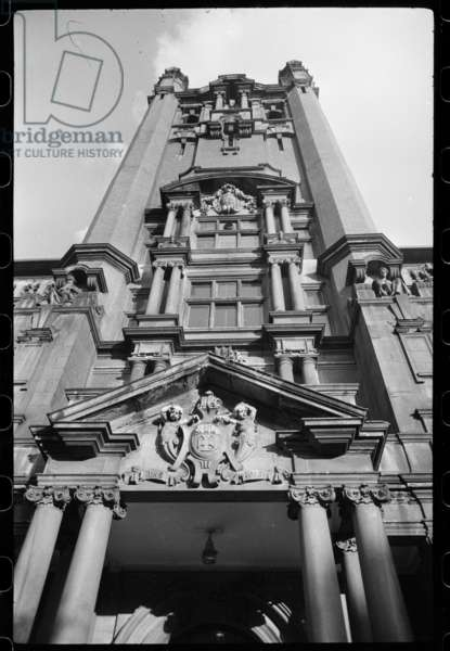 A detailed view of the central seven storey tower in the front elevation of the college of science, built for the University of Durham in the late 19th century, c.1955-c.1980 (b/w photo)