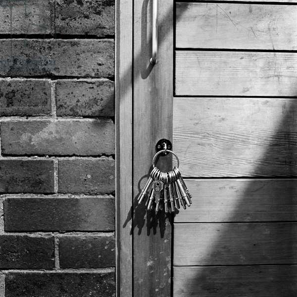 A set of keys in a doorway at Heathrow Primary School, Hillingdon, 1966-75 (b/w photo)