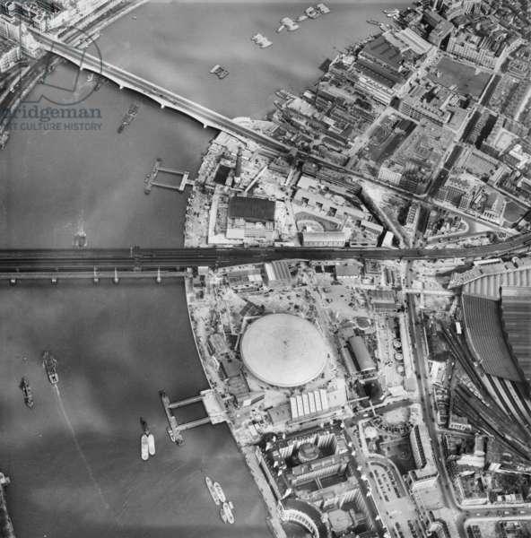 Festival site, Festival of Britain, London, UK, 1951 (b/w photo)