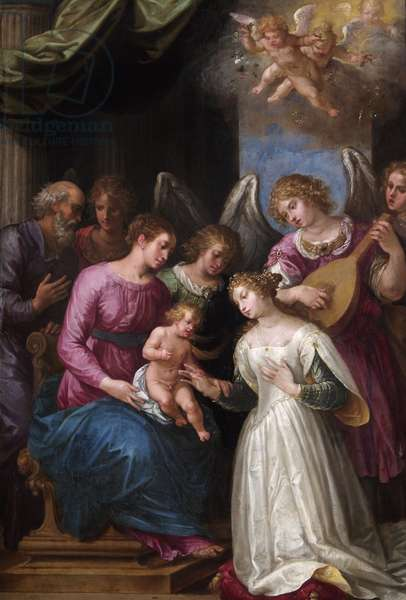 The Mystic Marriage of St. Catherine (oil on walnut panel)