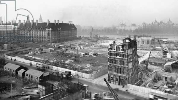 General view of the upstream section of the 1951 Festival of Britain site under construction, South Bank, Lambeth, London, UK, 1951 (b/w photo)