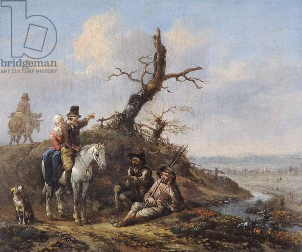 Landscape with Travellers Resting and Couple on Horseback (oil on oak panel)