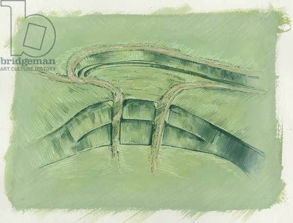 Reconstruction of the development of Maiden Castle (w/c on paper)