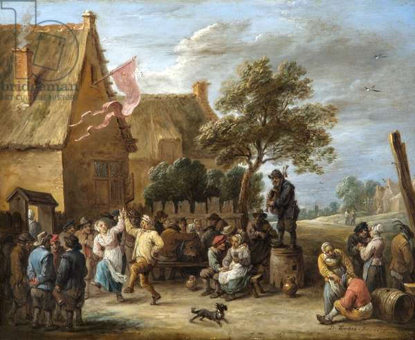 A Village Merrymaking At A Country Inn, 1655 (oil on copper)