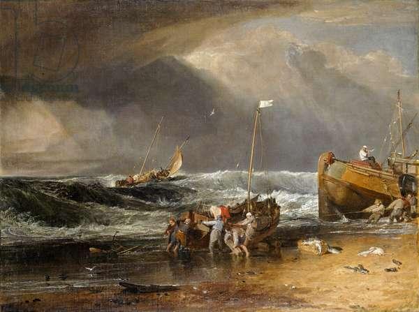 Coast Scene of Fishermen Hauling a Boat Ashore, or The Iveagh Seapiece (oil on canvas)