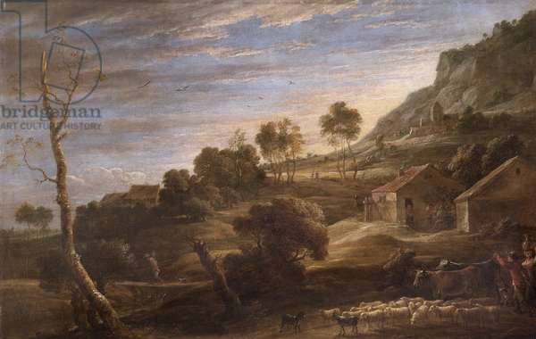 Landscape with peasants driving cattle, c.1670-90 (oil on canvas)