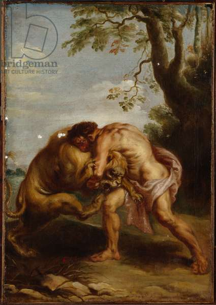 Hercules and the Nemean Lion (oil on canvas)