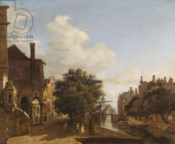 Architectural Fantasy, with the Old Town Hall, Amsterdam c.1667-72 (oil on oak panel)